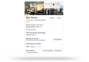 Virskomheds oplysninger hentet fra Google My Business